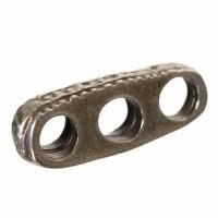 Metallperle Trennsteg 3-reihig, ca. 17 mm, versilbert