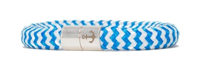 Armband mit Segelseil 10 mm und Magnetverschluss blau gestreift