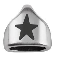 """Endkappe mit Gravur """"Stern"""", 13 x 13,5 mm, versilbert, geeignet für 5 mm Segelseil"""