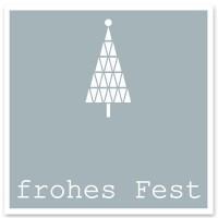 """Schmuckkarte """"Frohes Fest"""", grau mit Tannenbaum, quadratisch, Größe 8,5 x 8,5 cm"""