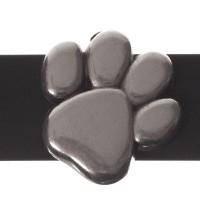 Metallperle Slider Pfote, versilbert, ca. 14 x 14 mm, Durchmesser Fädelöffnung:  10,2 x 2,3 mm