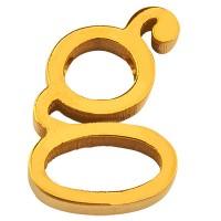 Buchstabe: G, Edelstahlperle in Buchstabenform, goldfarben, 13 x 10 x 3 mm, Lochdurchmesser: 1,8 mm