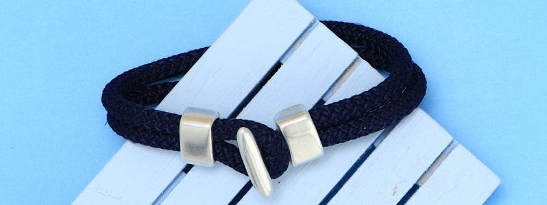 Maritimes Armband mit Tau und Hakenverschluss versilbert