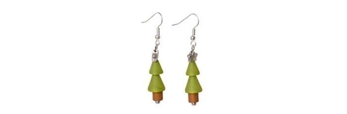 Ohrringe Tannenbaum Olivgrün