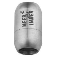 Edelstahl Magnetverschluss für 8 mm Bänder, Verschlussgröße 21 x 12 mm, Motiv Meer geht immer, silbe