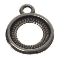 Fassung für runde Cabochons 12 mm, beidseitig, 1 Öse, versilbert