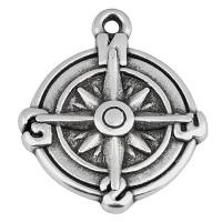 Metallanhänger Rund, Kompass, 18 mm, versilbert