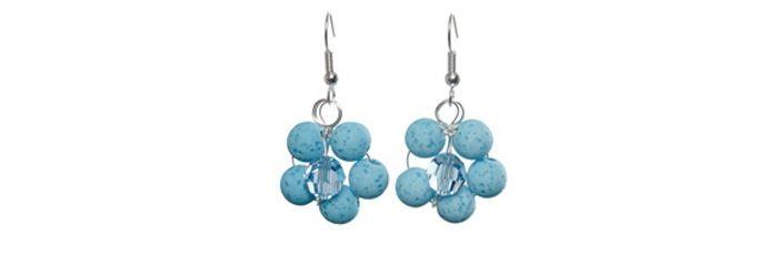 Süße Blumenohrringe Türkisblau