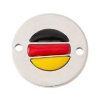 Coin Armbandverbinder Deutschland, 15 mm, versilbert, Motiv emailliert