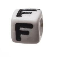 Kunststoffperle Buchstabe F, Würfel, 7 x 7 mm, weiß mit schwarzer Schrift