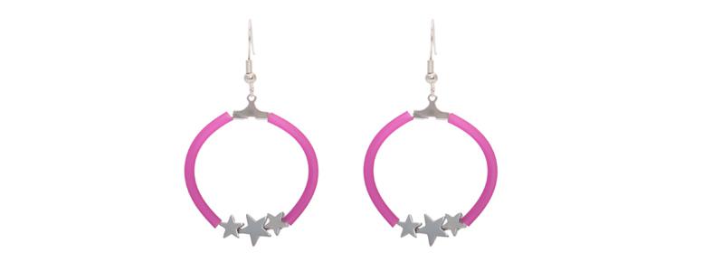 Ohrringe Creole mit Hämatitperlen Stern pink