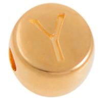 Metallperle, Y Buchstabe, rund, Durchmesser 7 mm, vergoldet