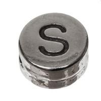 Metallperle, rund, Buchstabe S, Durchmesser 7 mm, versilbert