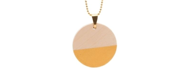 Geometrische Holzperlen-Kette Scheibe Gold