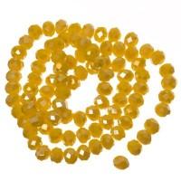 Strang Glasfacett  Rondell, 4 x 6 mm, gelb opak AB, Länge des Strangs ca. 40 cm