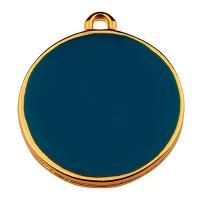 Metallanhänger Rund, Durchmesser 19 mm, dunkelblau emailliert, vergoldet