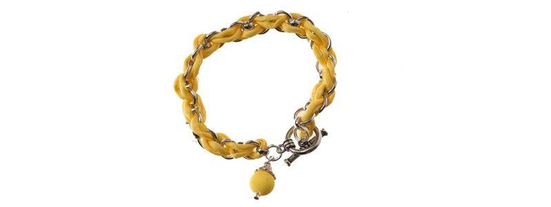Geflochtenes Seidenarmband Gelb