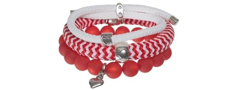 Armbänder mit gestreiftem Segelseil rot