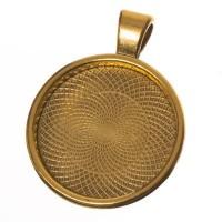 Anhänger für Cabochons, rund 25 mm, goldfarben