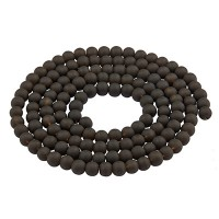 Glasperlen, gefrostet, Kugel, schwarz, Durchmesser 4 mm, Strang mit ca. 200 Perlen