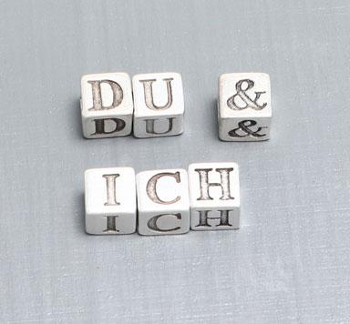 Buchstabenperlen Metall Würfel