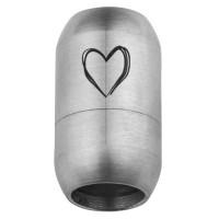 Edelstahl Magnetverschluss für 8 mm Bänder, Verschlussgröße 21 x 12 mm, Motiv Herz, silberfarben
