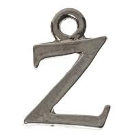 Metallanhänger Buchstabe Z, 10 x 12 mm, silberfarben