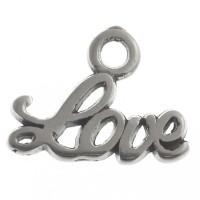Metallanhänger Love, 13,5 x 10,5 mm, versilbert