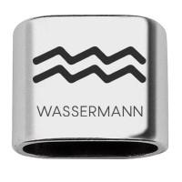 """Zwischenstück mit Gravur Sternzeichen """"Wassermann"""", 20 x 24 mm, versilbert, geeignet für 10 mm Segel"""