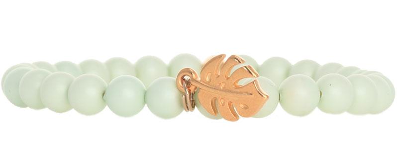Tropische Armband mit Crystal Pearls Monstera
