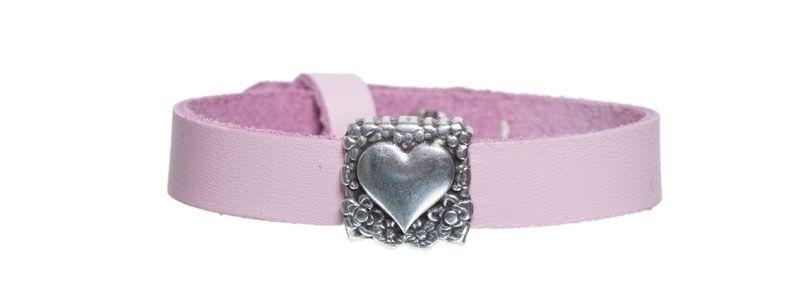 Leder-Armband mit Sliderperlen einfach Herz II