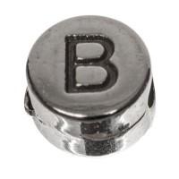 Metallperle, rund, Buchstabe B, Durchmesser 7 mm, versilbert
