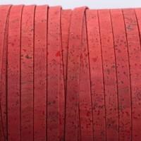 Korkband, flach, Breite 10 mm, Länge 1 m, rot