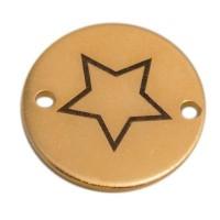 Coin Armbandverbinder Stern, 15 mm, vergoldet, Motiv lasergraviert