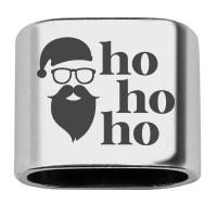 """Zwischenstück mit Gravur """"HO HO HO"""", 20 x 24 mm, versilbert, geeignet für 10 mm Segelseil"""