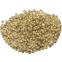 Kunststoffperlen Buchstabe, runde Scheibe, 7 mm, goldfarben mit schwarzer Schrift, 500 Stück