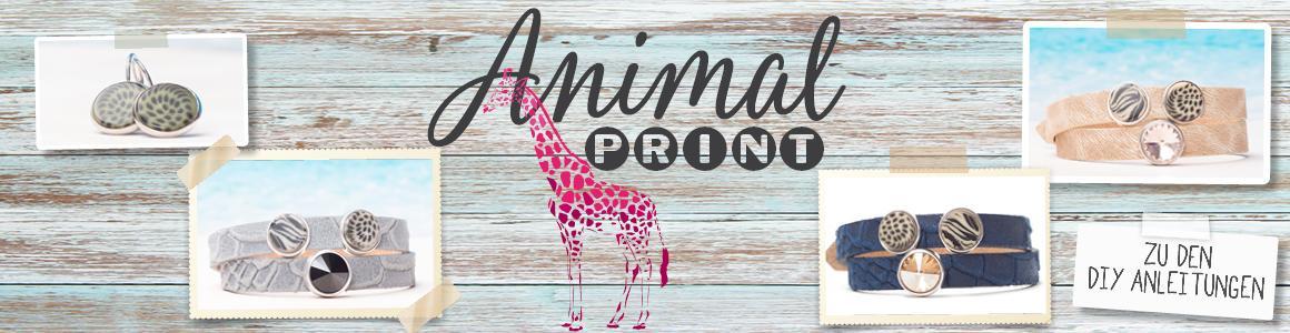 Animalprint Lederarmbänder für Sliderperlen (10 mm)