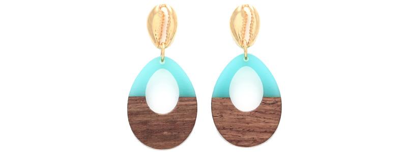 Ohrringe mit Holz-Resin-Anhängern Tropfen groß