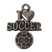 """Metallanhänger Fußball """"I Love Soccer"""", 22 x 17 mm, silberfarben"""