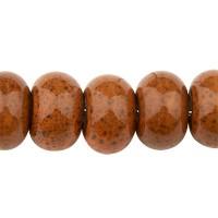 Porzellanperle antik glasiert, Rondell, dunkelbraun, 8 x 5,5 mm
