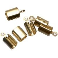 6 Endkappen für Bänder bis 4 mm, goldfarben