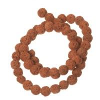 Strang Lavaperlen, rund, 6 mm, braun