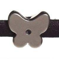 Metallperle Mini-Slider Schmetterling, versilbert, ca. 10,5 x 10,5 mm, Durchmesser Fädelöffnung:  5,