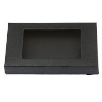 Geschenkverpackung mit Sichtfenster viereckig, schwarz, 12,5 x 8,5 x 1,5 cm