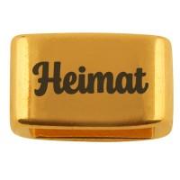 """Zwischenstück mit Gravur """"Heimat"""", 14 x 8,5 mm, vergoldet, geeignet für 5 mm Segelseil"""