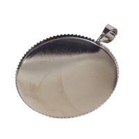 Anhänger für Cabochons, 25 mm, platinum