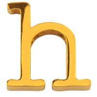 Buchstabe: H, Edelstahlperle in Buchstabenform, goldfarben, 13 x 13 x 3 mm, Lochdurchmesser: 1,8 mm