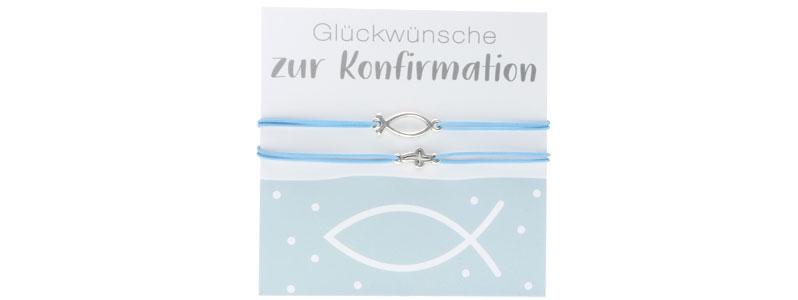 Armbänder zur Konfirmation Fisch und Kreuz