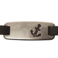 Metallanhänger / Armbandverbinder, Anker, 32 x 12 mm, versilbert