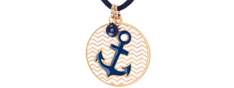 Maritime Kette Anker Blau